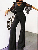 hesapli Kadın Kazakları-Kadın's Temel Siyah Tulumlar, Solid S M L