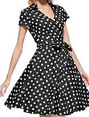 זול מלכת הוינטאג'-אודרי הפבורן מנוקד רטרו\וינטאג' שנות ה-50 קיץ שמלות בגדי ריקוד נשים כותנה תחפושות שחור / אדום / קפה וינטאג Cosplay שרוולים קצרים באורך  הברך / שמלה / שמלה