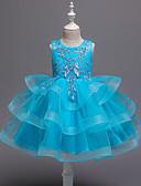 זול שמלות לבנות-שמלה מעל הברך ללא שרוולים רקום אחיד / פרחוני פעיל / מתוק בנות ילדים / פעוטות