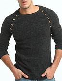 זול חולצות לגברים-US32 / UK32 / EU40 / US34 / UK34 / EU42 / US36 / UK36 / EU44 קאמל / אפור כהה צווארון עגול פוליאסטר, סוודר רגיל גודל אסיה שרוול ארוך אחיד בגדי ריקוד גברים
