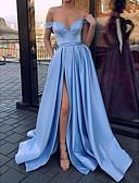 זול שמלות ערב-גזרת A סירה מתחת לכתפיים שובל סוויפ \ בראש סאטן ערב רישמי שמלה עם שסע קדמי / קפלים על ידי LAN TING Express