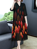 Недорогие Платья-Жен. Классический А-силуэт Платье - Цветочный принт, С принтом Средней длины