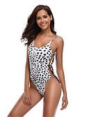 hesapli Bikiniler ve Mayolar-Kadın's Sportif Temel Beyaz Boyundan Bağlamalı Yarım Tanga Tek Parçalılar Mayolar - Leopar Arkasız Bağcık Desen S M L Beyaz