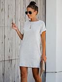 abordables Robes Grandes Tailles-Tunique Femme, Couleur Pleine Mosaïque Basique Blanc Blanche