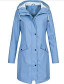 저렴한 여성 트렌치 코트-여성용 일상 베이직 플러스 사이즈 긴 트렌치 코트, 솔리드 후디 긴 소매 폴리에스테르 블랙 / 블러슁 핑크 / 옐로우