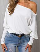 hesapli Bluz-Kadın's Tek Omuz Bluz Solid Beyaz