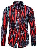 hesapli Erkek Gömlekleri-Erkek Gömlek Desen, Geometrik Sokak Şıklığı YAKUT