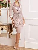 hesapli Gece Elbiseleri-Sütun / İki Parça Kare Yaka Diz Boyu Dantelalar / Jarse Aplik / Kurdeleler ile Gelin Annesi Elbisesi tarafından LAN TING Express / Şal dahildir