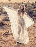 povoljno Ženske haljine-Žene Osnovni Boho Shift Haljina - Čipka Kolaž, Cvjetni print Maxi Bijela