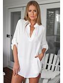hesapli Gömlek-Kadın's Gömlek Solid Temel Siyah