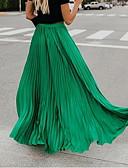 hesapli Kadın Etekleri-Kadın's Maksi Salıncak Etekler - Solid Büzgülü Siyah YAKUT Doğal Pembe M L XL