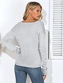 povoljno Ženski džemperi-Žene Jednobojni Dugih rukava Širok kroj Pullover, V izrez Pamuk Crn / Djetelina / Bež S / M / L