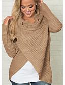povoljno Ženski džemperi-Žene Jednobojni Dugih rukava Pullover, Dolčevita Žutomrk S / M / L