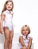 hesapli Kız Çocuk Kıyafet Setleri-Toddler Genç Kız Actif Temel Flamingolar Geometrik Desen Fiyonklar Desen Kolsuz Pamuklu Mayolar Beyaz