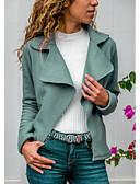 hesapli Ceketler-Kadın's Günlük Temel Normal Ceketler, Solid Gömlek Yaka Uzun Kollu Polyester Açık Gri / Yonca / Koyu Gri S / M / L