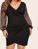 זול שמלות NYE-שחור עד הברך רשת, אחיד - שמלה צינור בסיסי סגנון רחוב בגדי ריקוד נשים