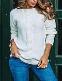 povoljno Ženski džemperi-Žene Jednobojni Dugih rukava Pullover, Okrugli izrez Zima Svjetloplav / Obala / Blushing Pink S / M / L