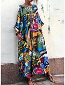 hesapli Print Dresses-Kadın's Şık Tunik Elbise - Geometrik Maksi / Salaş