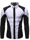 hesapli Erkek Kapşonluları ve Svetşörtleri-Erkek Gömlek Kırk Yama, Zıt Renkli Temel Siyah