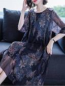hesapli Print Dresses-Kadın's Boho sofistike Kombinezon Elbise - Geometrik Leopar Soyut, Desen Midi Tropikal yaprak Güneş çiçeği Gül