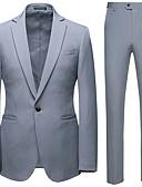 cheap Men's Blazers & Suits-Men's Plus Size Suits, Solid Colored Shawl Lapel Nylon Black / Dark Gray / Navy Blue