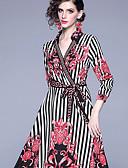 hesapli Maksi Elbiseler-Kadın's Temel Çin Stili A Şekilli Çan Elbise - Solid Çizgili Zıt Renkli, Kırk Yama Desen Maksi