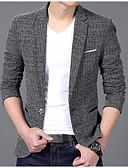 cheap Men's Blazers & Suits-Men's Blazer, Solid Colored Notch Lapel Polyester Gray / Wine / Khaki XL / XXL / XXXL