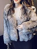 povoljno Haljine za NG-Žene Dnevno Jesen zima Normalne dužine Faux Fur Coat, Color block Ovratnika Dugih rukava Umjetno krzno Sive boje