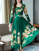 baratos Vestidos Longos-Mulheres Básico Evasê Vestido - Estampado, Floral Longo