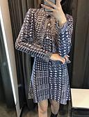 hesapli İki Parça Kadın Takımları-Kadın's Sokak Şıklığı Set - Dantelli / Bölünmüş, Ekose Elbiseler