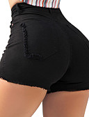 billige T-skjorter til damer-Dame Grunnleggende / Gatemote Chinos / Shorts Bukser - Ensfarget Svart / Hvit / Blå, Klassisk Høy Midje Svart Rosa Marineblå S M L