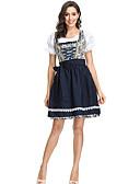 hesapli Oktoberfest-Kasım Festivali Kıyafetler üstü dar altı geniş elbise Trachtenkleider Kadın's Bluz Elbise Önlük Bavyera Kostüm Donanma