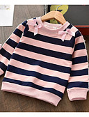 povoljno Majice za djevojčice-Djeca Djevojčice Osnovni Prugasti uzorak Dugih rukava Majica s kratkim rukavima Crn