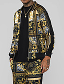 hesapli Erkek Ceketleri ve Kabanları-Erkek Günlük İlkbahar & Kış Normal Ceketler, Geometrik Dik Yaka Uzun Kollu Polyester Sarı
