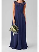זול שמלות שושבינה-גזרת A עם תכשיטים עד הריצפה שיפון / תחרה שמלה לשושבינה  עם אפליקציות / קפלים על ידי LAN TING Express