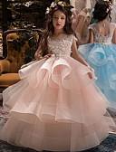 abordables Robes de Réception de Mariage-Enfants Fille Couleur Pleine Sans Manches Maxi Robe Bleu clair