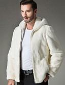 povoljno Muške jakne i kaputi-Muškarci Dnevno Jesen zima Normalne dužine Faux Fur Coat, Jednobojni S kapuljačom Dugih rukava Umjetno krzno Obala