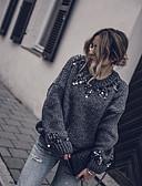זול סוודרים לנשים-מידה אחת תלתן / אפור סתיו / חורף חוטי זהורית / אקריליק, סוודר משוחרר שרוול ארוך אחיד בגדי ריקוד נשים