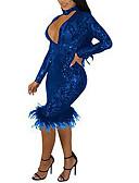 povoljno Haljine za NG-Žene Elegantno Korice Haljina - Šljokice, Jednobojni Do koljena Bijela Plava