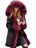 povoljno Ženske kaputi od kože i umjetne kože-Žene Dnevno Zima Dug Faux Fur Coat, Jednobojni S kapuljačom Dugih rukava Poliester Crn / Lila-roza / Deva