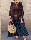 hesapli Büyük Beden Elbiseleri-Kadın's Vintage Çan Elbise - Geometrik, Kırk Yama Maksi