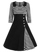 abordables Vestidos de Mujer-Mujer Sofisticado Elegante Línea A Vestido - Retazos, A Rayas Hasta la Rodilla