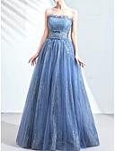 זול שמלות ערב-גזרת A סטרפלס עד הריצפה אורגנזה גב פתוח ערב רישמי שמלה עם סרט / קפלים על ידי LAN TING Express