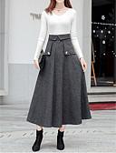 זול חצאיות לנשים-Houndstooth - חצאיות גזרת A בגדי ריקוד נשים חום בהיר אפור S M L