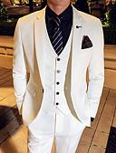 זול חליפות-שחור / לבן / פול אחיד גזרה צרה פוליאסטר חליפה - פתוח Single Breasted One-button