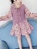 זול סטים של ביגוד לבנות-סט של בגדים שרוול ארוך פרחוני / סרוג בנות ילדים