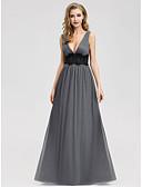 זול שמלות קוקטייל-גזרת A צלילה עד הריצפה שיפון / תחרה ערב רישמי שמלה עם חרוזים / אסוף על ידי LAN TING Express