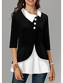 billige Bluser-Skjorte Dame - Fargeblokk Svart