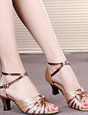 povoljno Haljine za djevojčice-Žene Plesne cipele Koža Cipele za latino plesove Štikle Kubanska potpetica Crn / purpurna boja / Zlato