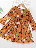 povoljno Haljine za djevojčice-Dijete koje je tek prohodalo Djevojčice Geometrijski oblici Halloween Print Haljina žuta